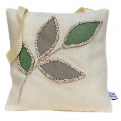 Cream linen lavender bag with leaf design