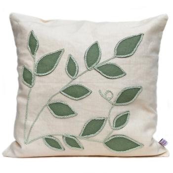 Cream linen cushion with sage leaf design