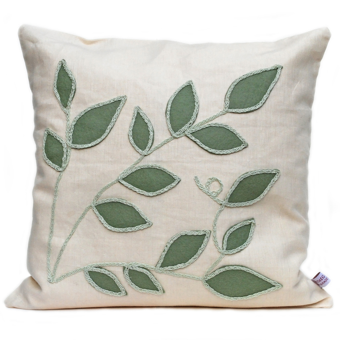 Cream linen cushion with sage leaf design