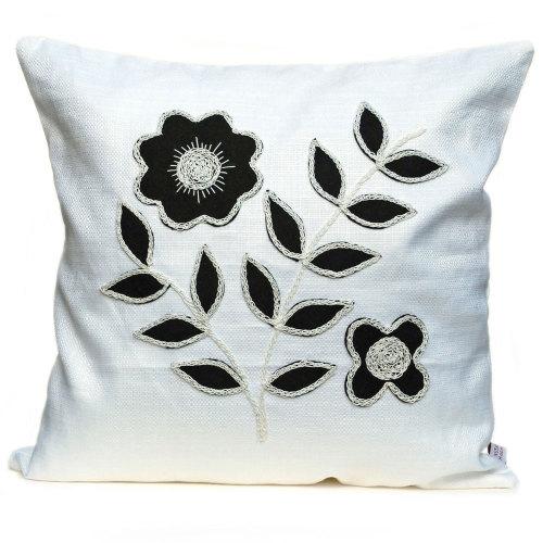 Monchrome cushion with black floral leaf design