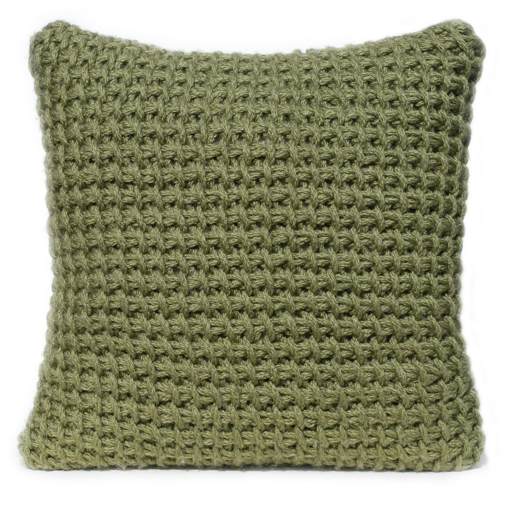 Tunisian crocheted cushion in olive