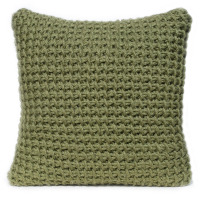 Tunisian crocheted cushion in olive green wool yarn