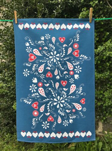 Folk art tea towel - blue