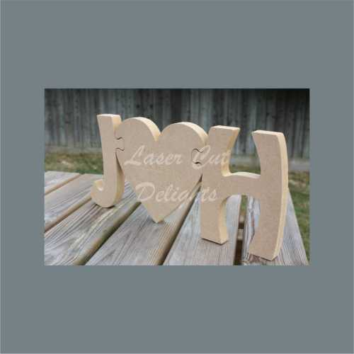 Puzzle Initials with Heart (engraving optional) 18mm