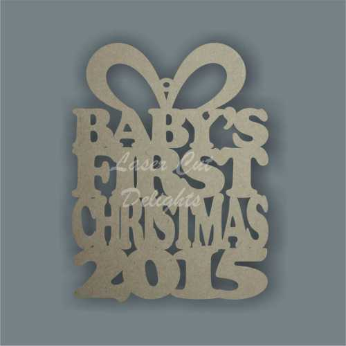 Bauble Present - Baby's First Chrsitmas 2015 10cm 3mm