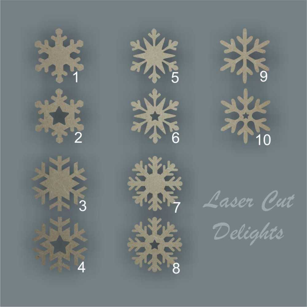 Snowflake Bauble (various)  Pk10 / Laser Cut Delights