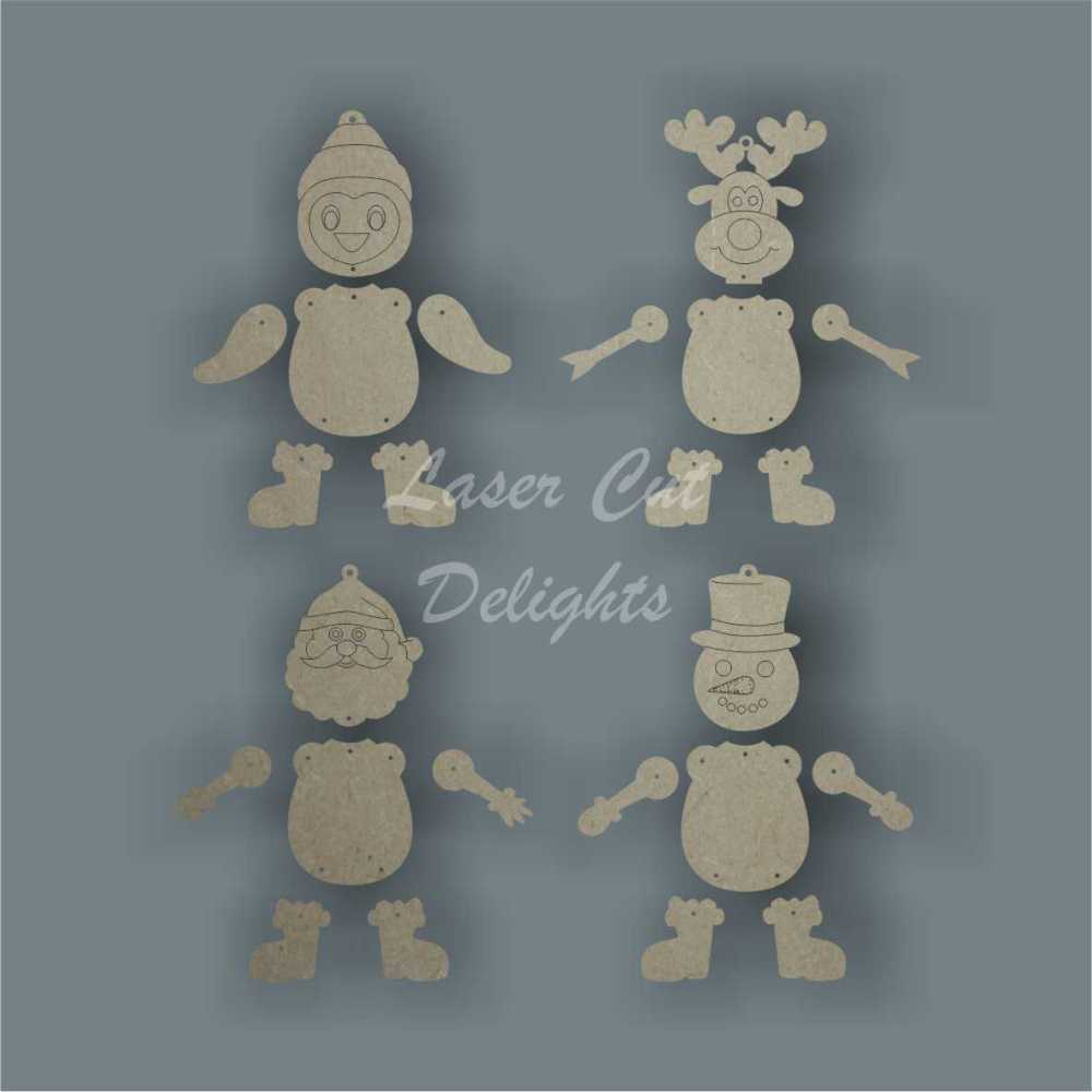 Hanging Character Christmas Tree Decorations (Santa Reindeer Penguin Snowman) 3mm