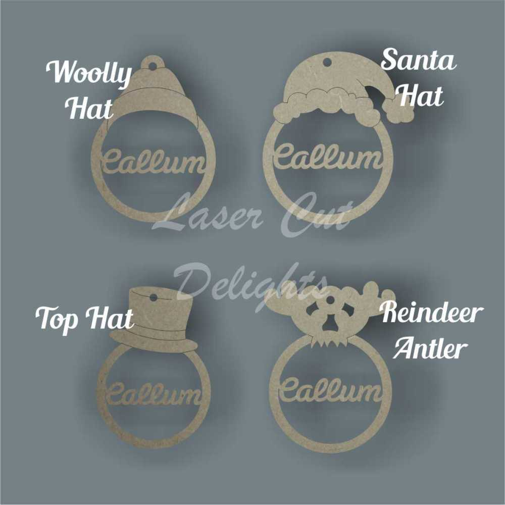 Bauble - Personalised with Hats 3mm