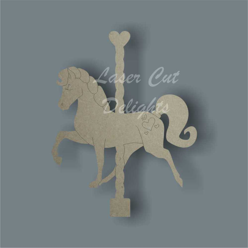 Horse or Unicorn on Carousel (detailed) 3mm