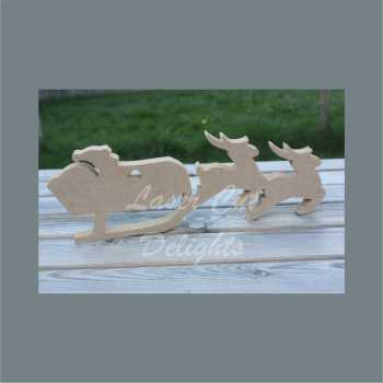 Santa Sleigh pulled by Two Reindeer - JOINED 18mm (12cm tall)