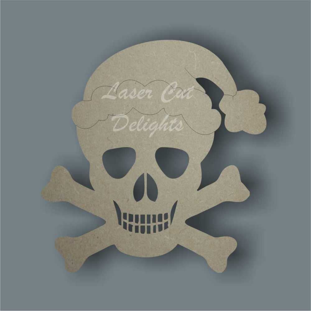 Bauble Skull and Crossbones with Santa Hat / Laser Cut Delights