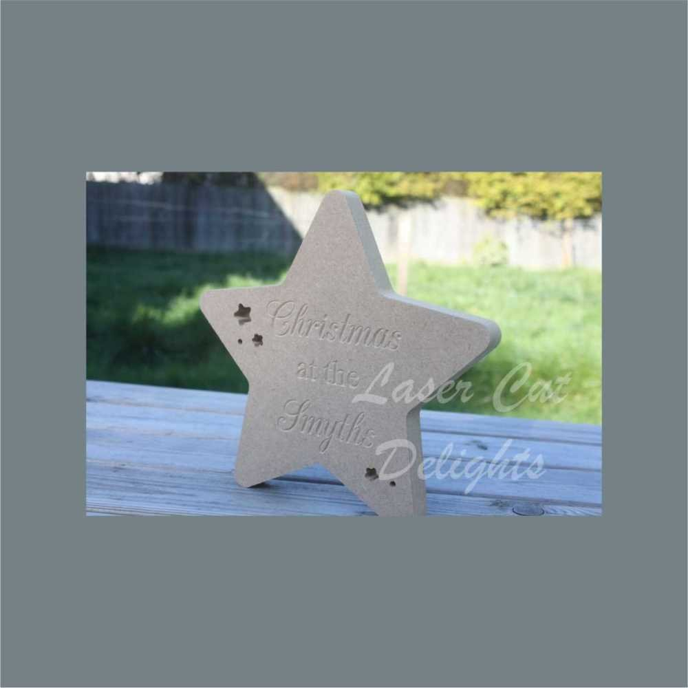 Star Engraved - Christmas At The 'Surname' 8mm 20cm