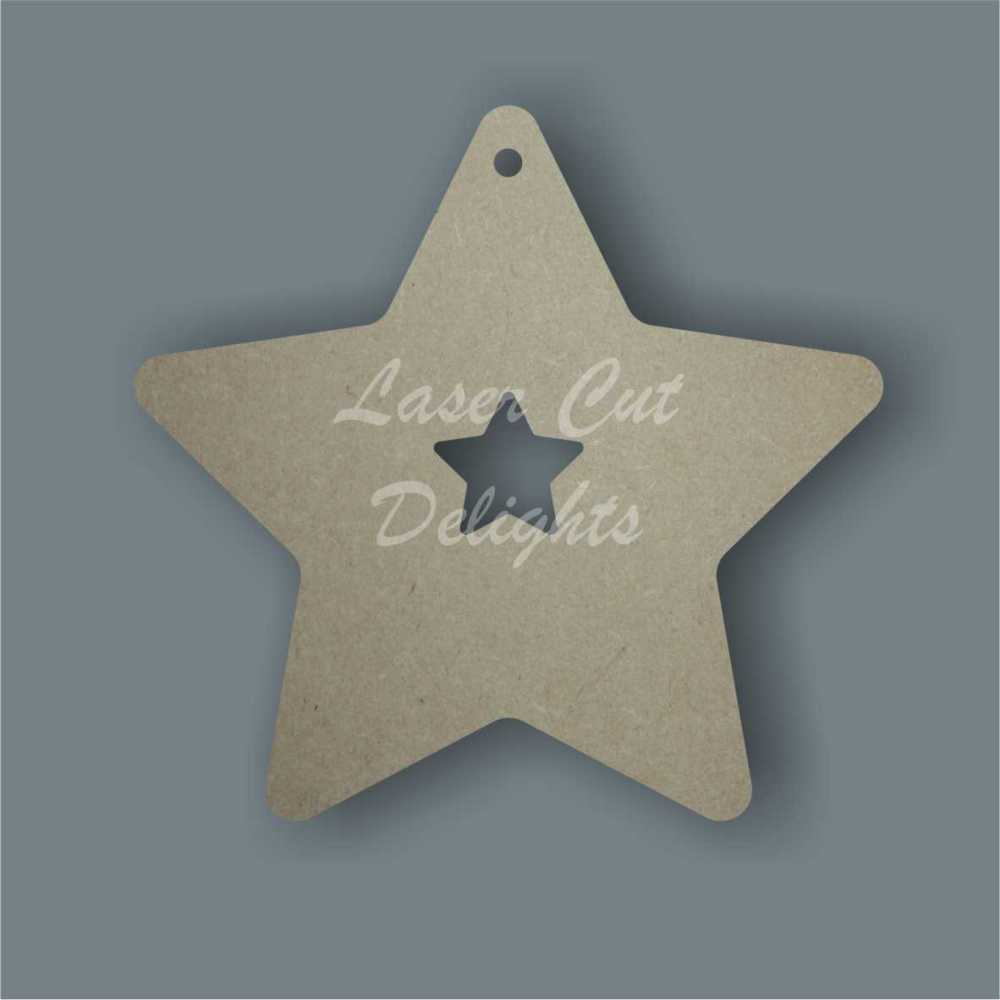 Star with small star cut out inside / Laser Cut Delights
