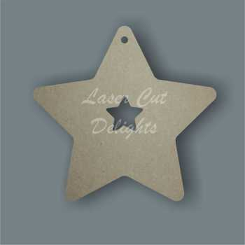Star with small star cut out inside 3mm 12cm