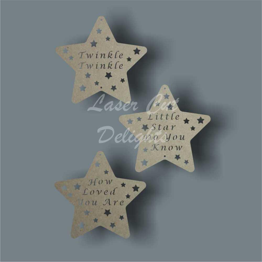 Star (twinkle twinkle...) x3 15cm 3mm
