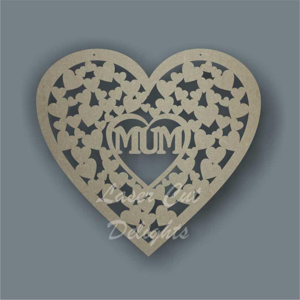 Heart of hearts with MUM MOM MAM NAN 3mm 20cm