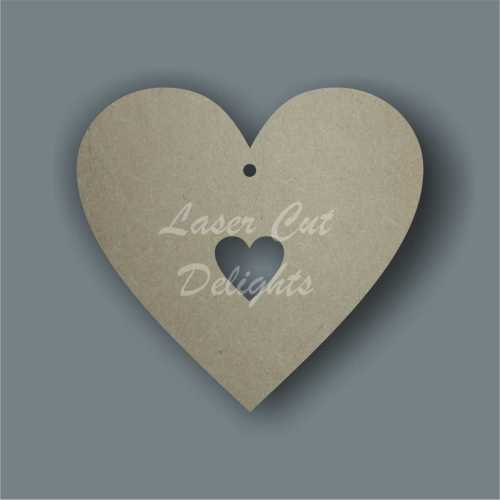 Heart with small heart cut out inside 3mm 12cm