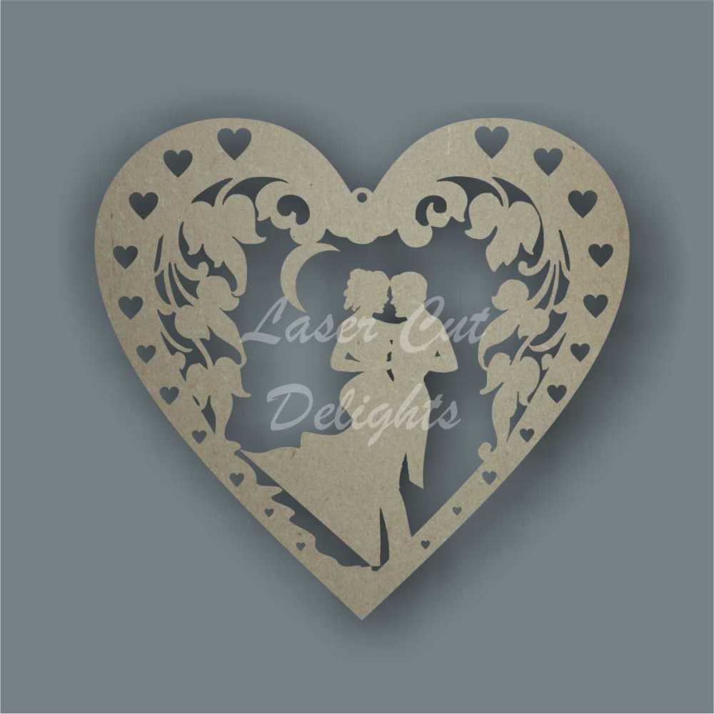 Couple In Floral Framed Heart 3mm 20cm