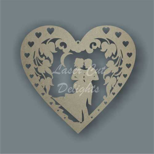Couple In Floral Framed Heart 3mm 20cm