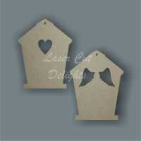 Birdhouse with wings or heart cut through