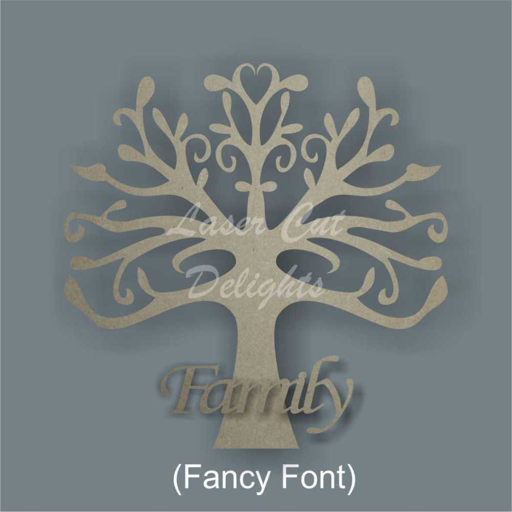 FAMILY Tree 3D (various fonts) 3mm