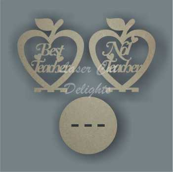Bauble APPLE HEART with set wording 10cm 3mm