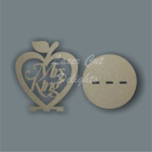 Apple HEART with Teacher Name (hanging or freestanding) 3mm