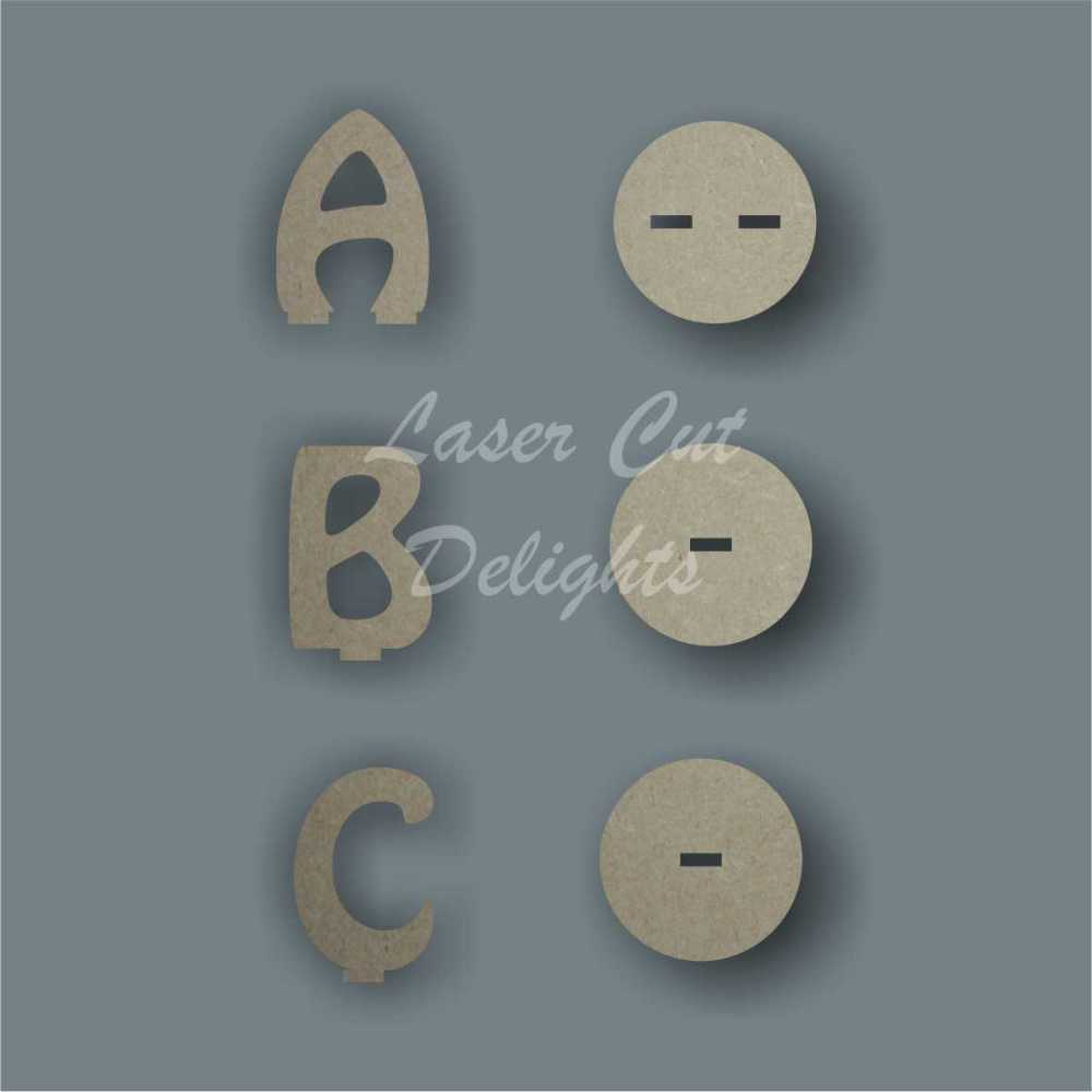 Letters and Base Stand 6mm 10cm