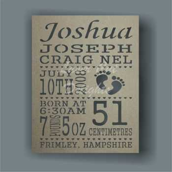 Birth Plaque Baby Details Cut Through 32x25cm 3mm