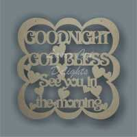 Bubble Plaque - Goodnight God Bless See you in the morning 3mm
