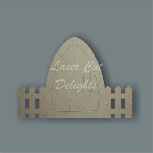 Fairy Door PLAIN WITH FENCE edged (flat) 3mm 15cm