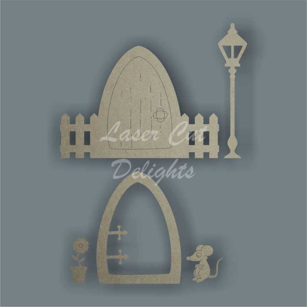 3D Fairy Door Pack (inc...plain door with fence, lamp post and mouse or flower pot) 3mm