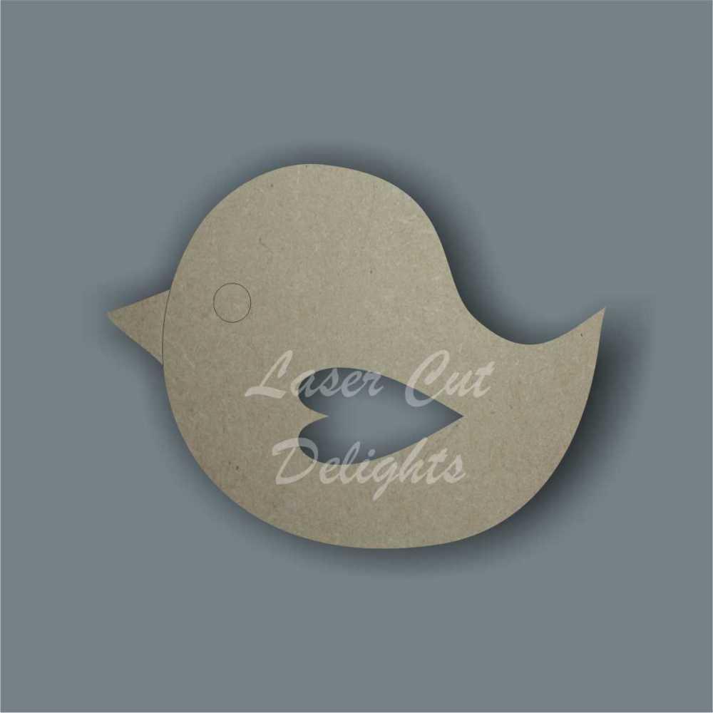 Robin Bird with heart wing cut through / Laser Cut Delights