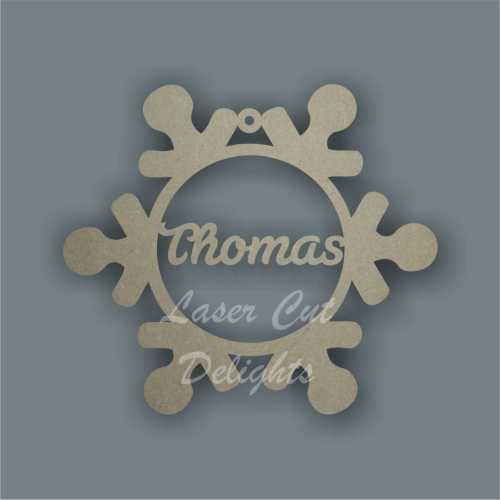 Snowflake Bauble with Personalisation (hanging or freestanding) 12cm wide 3