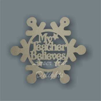 Bauble SNOWFLAKE with set wording 12cm wide 3mm