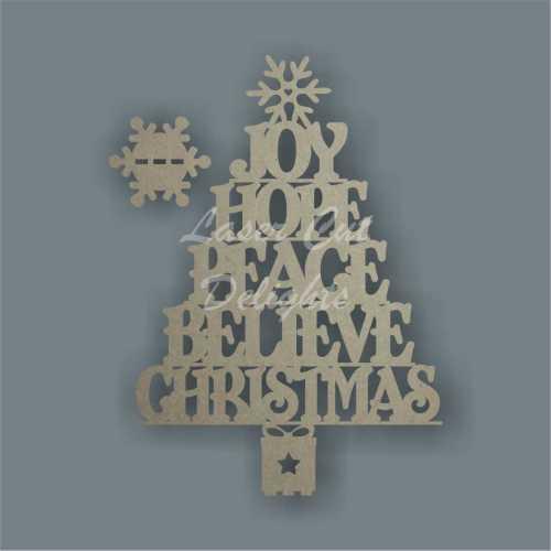 Christmas Tree - JOY HOPE PEACE BELIEVE CHRISTMAS 3mm