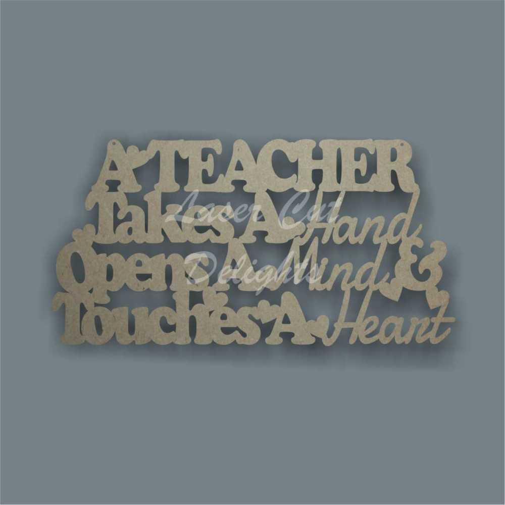 A teacher takes a hand opens and mind and touches a heart 3mm 35x18cm
