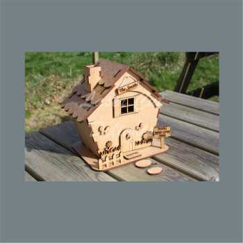 3D House Cottage with SLANTED sides / Laser Cut Delights