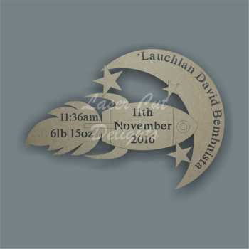 Birth Plaque Rocket 3mm 30cm