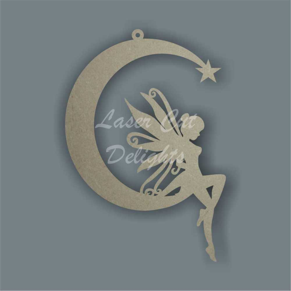 Thin Moon with fairy dangling feet 3mm 15cm