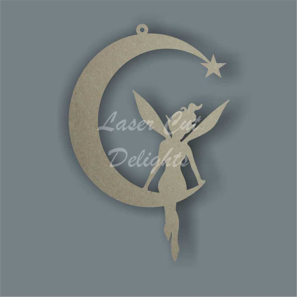 Thin Moon with fairy sitting 3mm 15cm