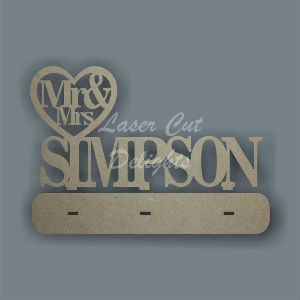 Mr & Mrs in Heart with Surname (freestanding) 6mm