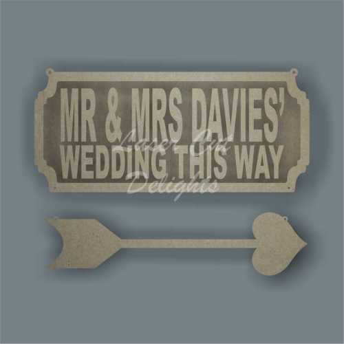 Street Sign TWO LINES Wedding This Way (with hanging arrow)