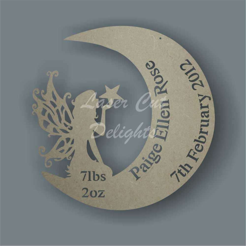 Birth Plaque Fairy in Moon / Laser Cut Delights