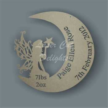 Birth Plaque Fairy in Moon 3mm 30cm