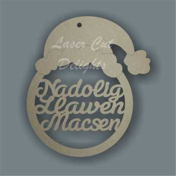 Bauble - Santa Hat Nadolig Llawen Name / Laser Cut Delights