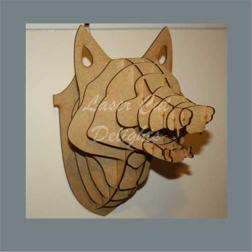 Taxidermy fox head laser cut shape crafts