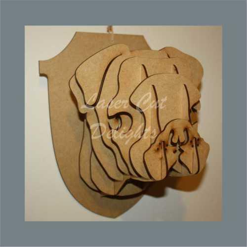 taxidermy pug head wall hanging 3D craft