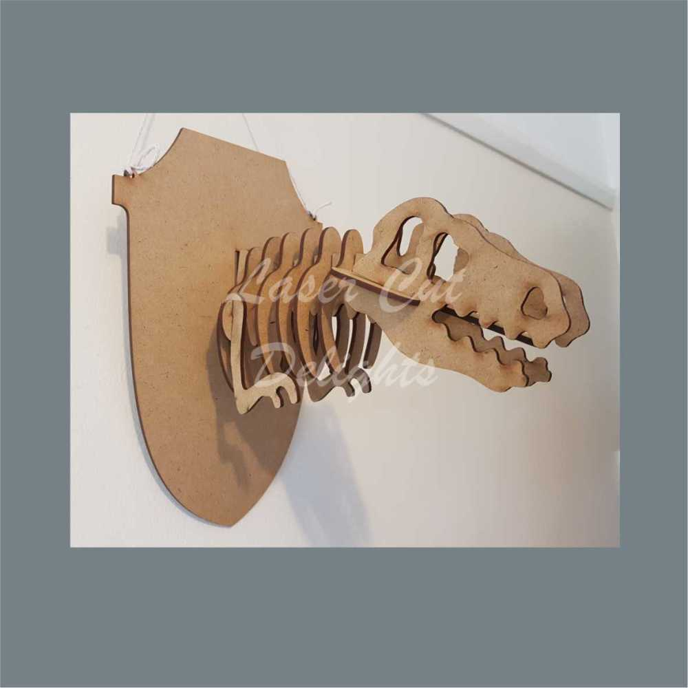 Wall Mount Dinosaur Skeleton Head / Laser Cut Delights