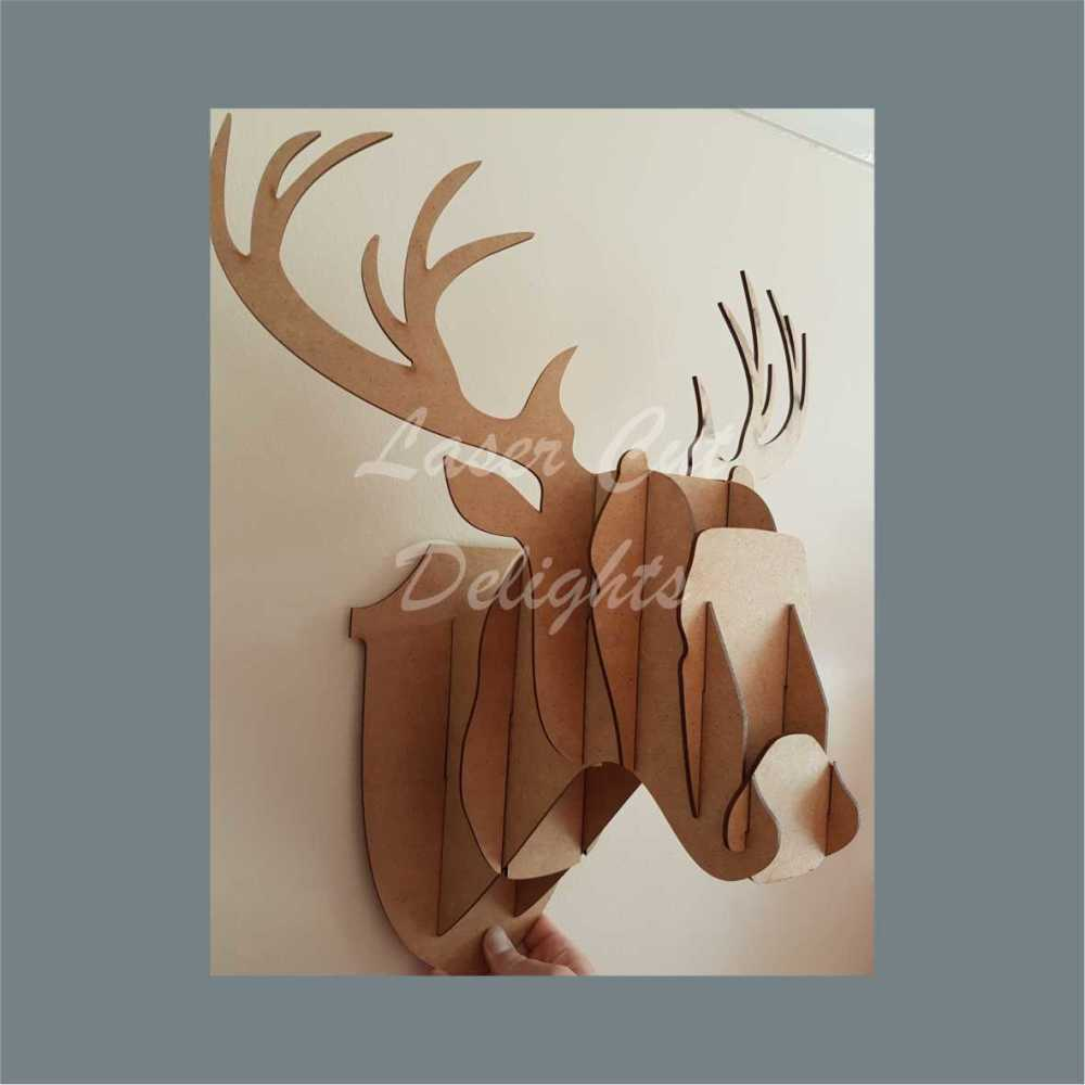 Wall Mount Stag Head / Laser Cut Delights